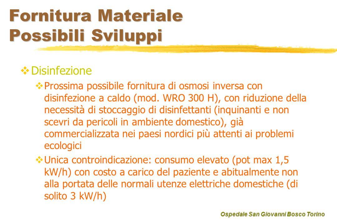 Fornitura Materiale Possibili Sviluppi Disinfezione Prossima possibile fornitura di osmosi inversa con disinfezione a caldo (mod. WRO 300 H), con ridu