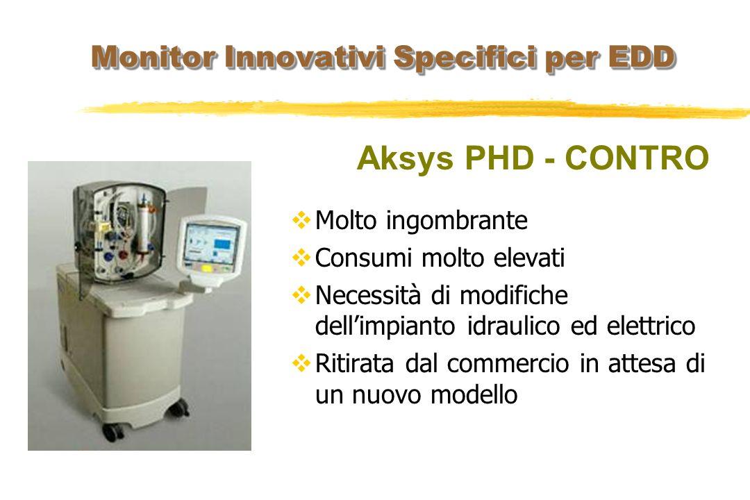 Monitor Innovativi Specifici per EDD Aksys PHD - CONTRO Molto ingombrante Consumi molto elevati Necessità di modifiche dellimpianto idraulico ed elett