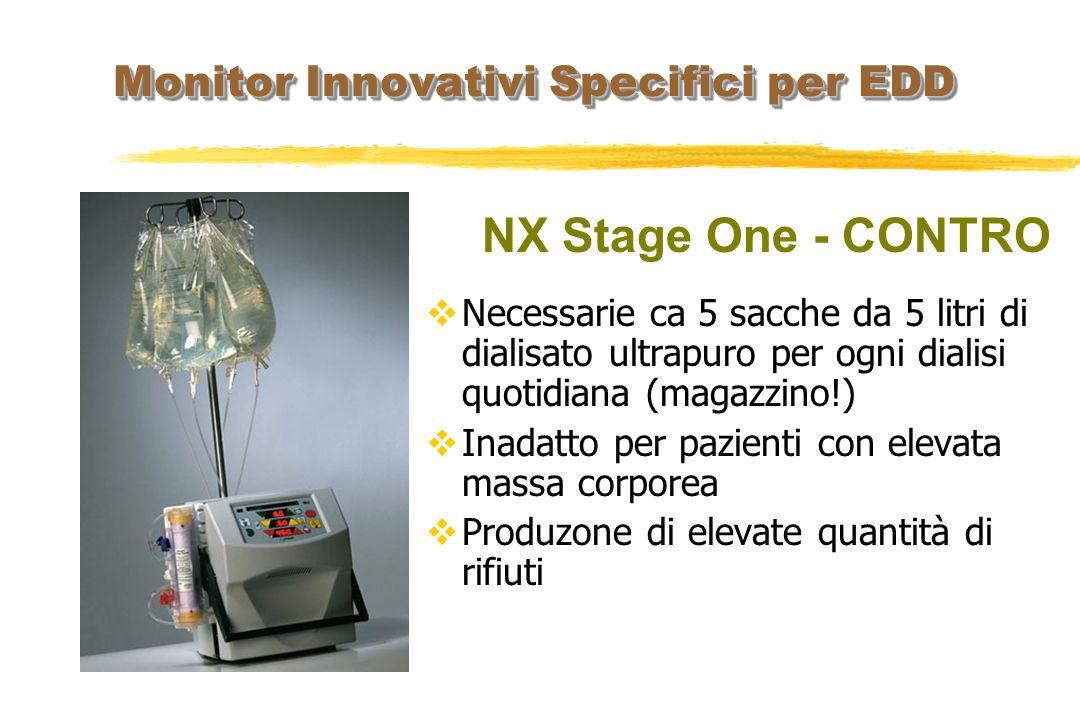 NX Stage One - CONTRO Necessarie ca 5 sacche da 5 litri di dialisato ultrapuro per ogni dialisi quotidiana (magazzino!) Inadatto per pazienti con elev