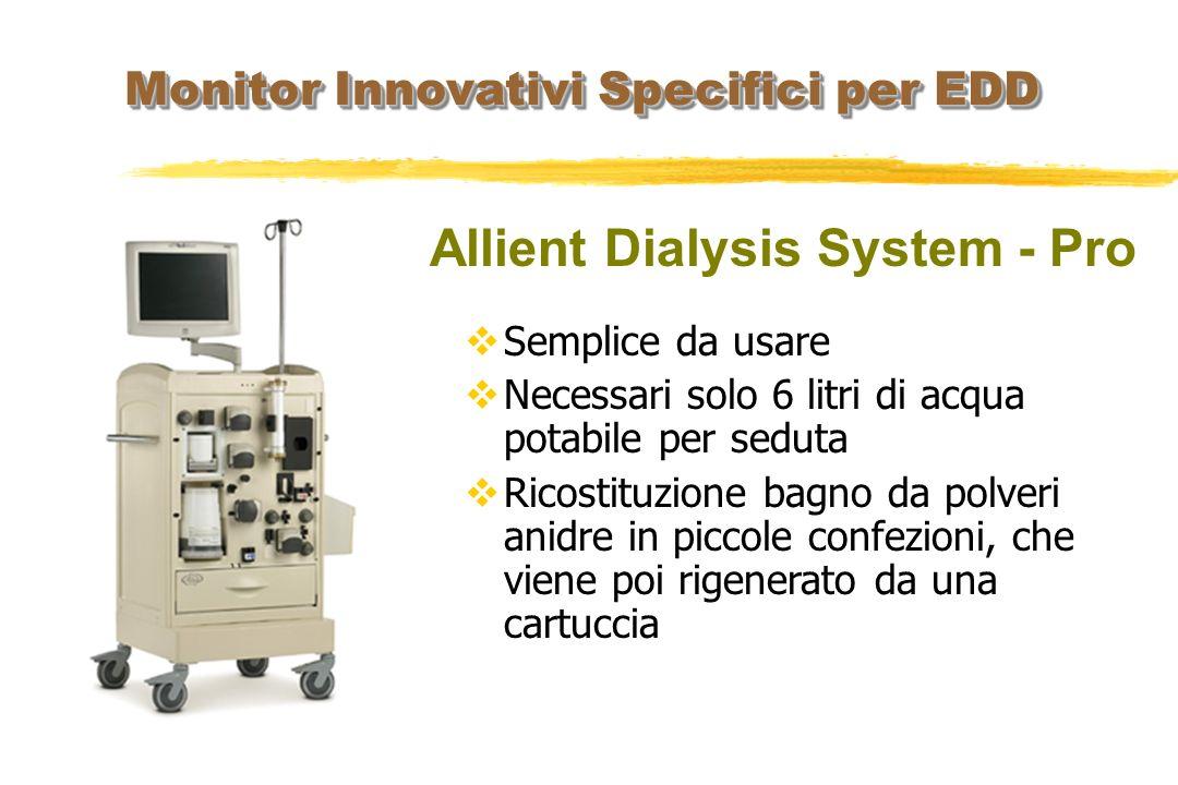 Allient Dialysis System - Pro Monitor Innovativi Specifici per EDD Semplice da usare Necessari solo 6 litri di acqua potabile per seduta Ricostituzion