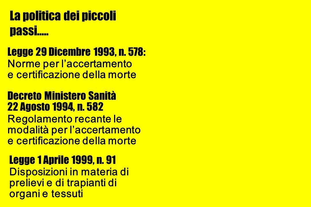 Curiosità… L Italia è stato uno dei primi Paesi a darsi una normativa che regolamentasse il prelievo di organi a scopo di trapianto terapeutico (legge