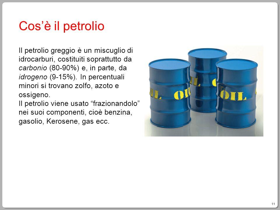 11 Cosè il petrolio Il petrolio greggio è un miscuglio di idrocarburi, costituiti soprattutto da carbonio (80-90%) e, in parte, da idrogeno (9-15%). I