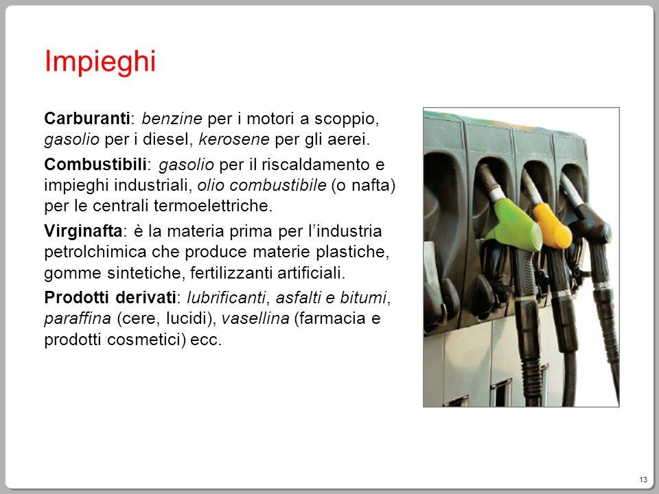 13 Impieghi Carburanti: benzine per i motori a scoppio, gasolio per i diesel, kerosene per gli aerei. Combustibili: gasolio per il riscaldamento e imp