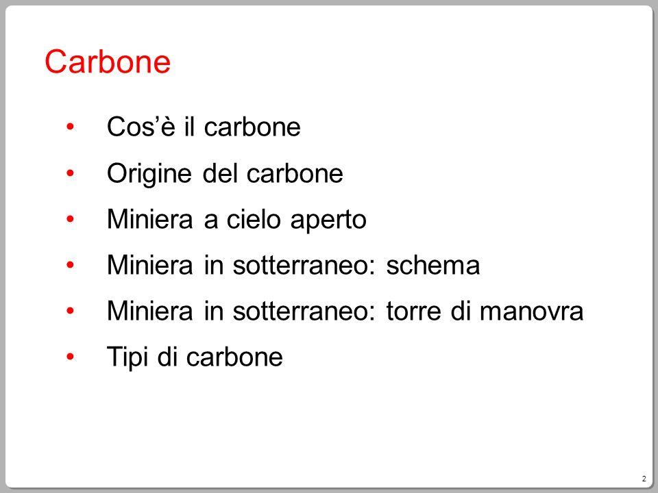 2 Carbone Cosè il carbone Origine del carbone Miniera a cielo aperto Miniera in sotterraneo: schema Miniera in sotterraneo: torre di manovra Tipi di c