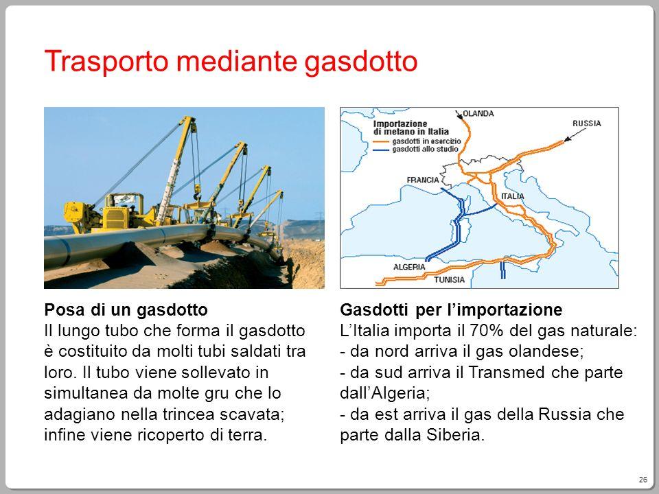 26 Trasporto mediante gasdotto Posa di un gasdotto Il lungo tubo che forma il gasdotto è costituito da molti tubi saldati tra loro. Il tubo viene soll