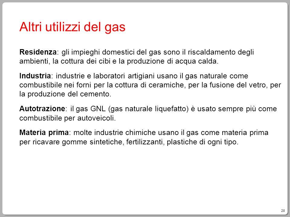 28 Altri utilizzi del gas Residenza: gli impieghi domestici del gas sono il riscaldamento degli ambienti, la cottura dei cibi e la produzione di acqua