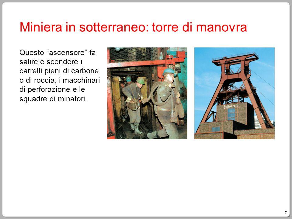 7 Miniera in sotterraneo: torre di manovra Questo ascensore fa salire e scendere i carrelli pieni di carbone o di roccia, i macchinari di perforazione