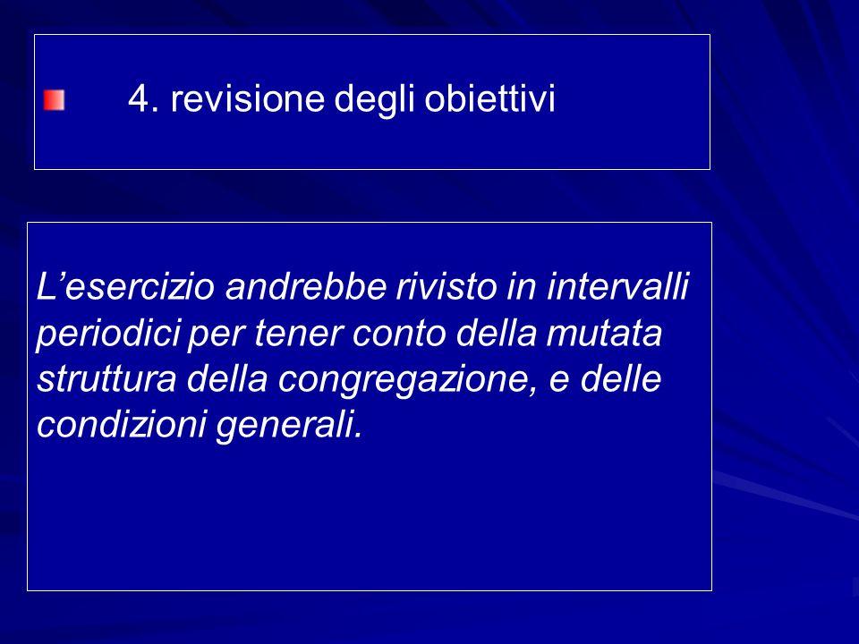 4. revisione degli obiettivi Lesercizio andrebbe rivisto in intervalli periodici per tener conto della mutata struttura della congregazione, e delle c