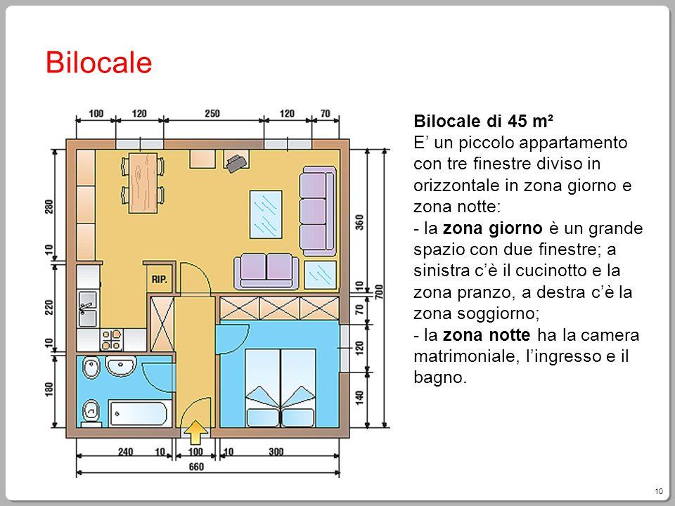 10 Bilocale Bilocale di 45 m² E un piccolo appartamento con tre finestre diviso in orizzontale in zona giorno e zona notte: - la zona giorno è un gran