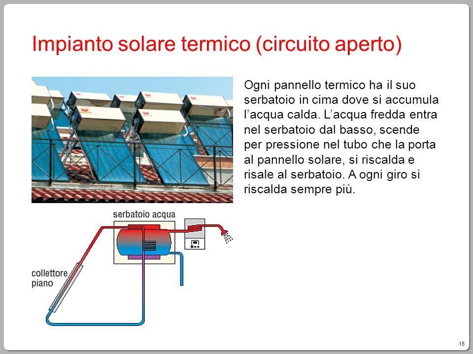 16 Impianto solare termico (circuito aperto) Ogni pannello termico ha il suo serbatoio in cima dove si accumula lacqua calda. Lacqua fredda entra nel