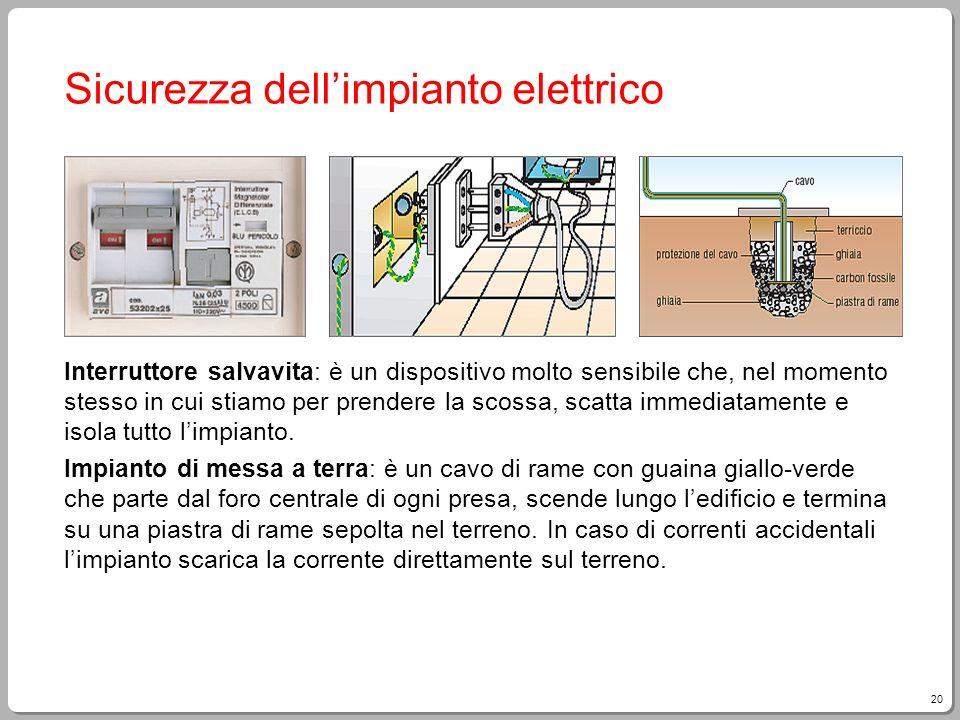 20 Sicurezza dellimpianto elettrico Interruttore salvavita: è un dispositivo molto sensibile che, nel momento stesso in cui stiamo per prendere la sco