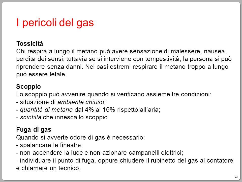 23 I pericoli del gas Tossicità Chi respira a lungo il metano può avere sensazione di malessere, nausea, perdita dei sensi; tuttavia se si interviene