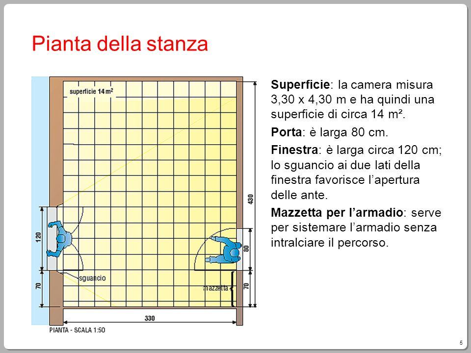 5 Pianta della stanza Superficie: la camera misura 3,30 x 4,30 m e ha quindi una superficie di circa 14 m². Porta: è larga 80 cm. Finestra: è larga ci