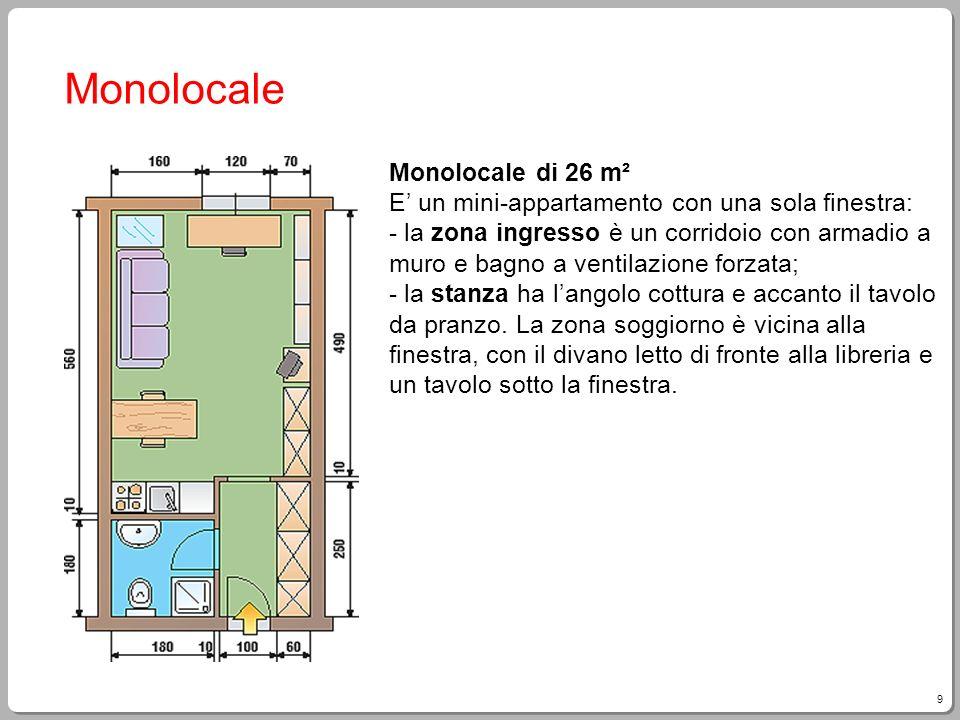9 Monolocale Monolocale di 26 m² E un mini-appartamento con una sola finestra: - la zona ingresso è un corridoio con armadio a muro e bagno a ventilaz