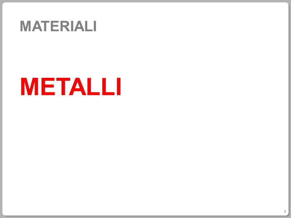 2 Classificazione dei metalli Leggeri: magnesio (Mg), alluminio (Al), titanio (Ti) hanno buona resistenza meccanica e sono molto leggeri.