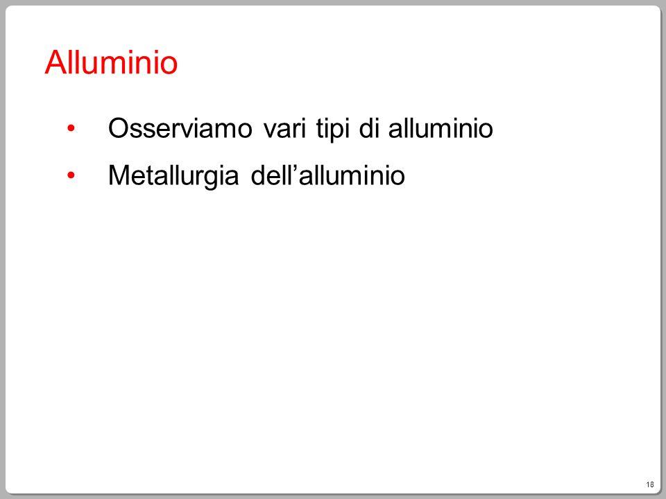 18 Alluminio Osserviamo vari tipi di alluminio Metallurgia dellalluminio
