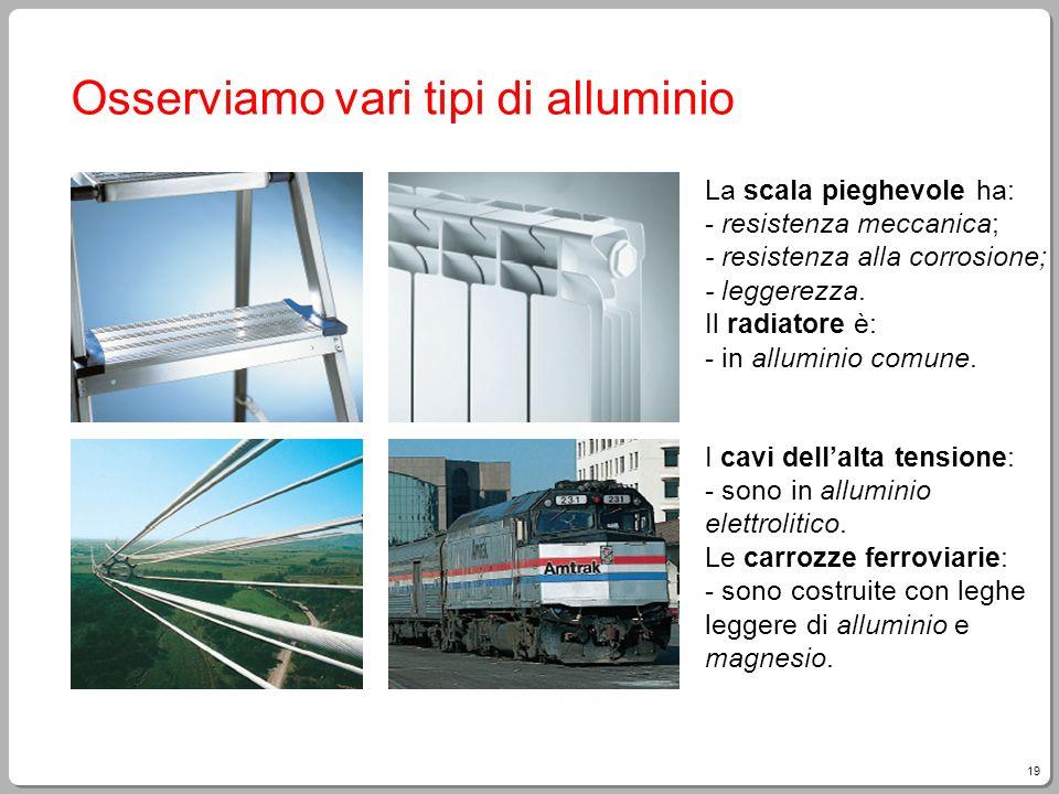 19 Osserviamo vari tipi di alluminio La scala pieghevole ha: - resistenza meccanica; - resistenza alla corrosione; - leggerezza. Il radiatore è: - in
