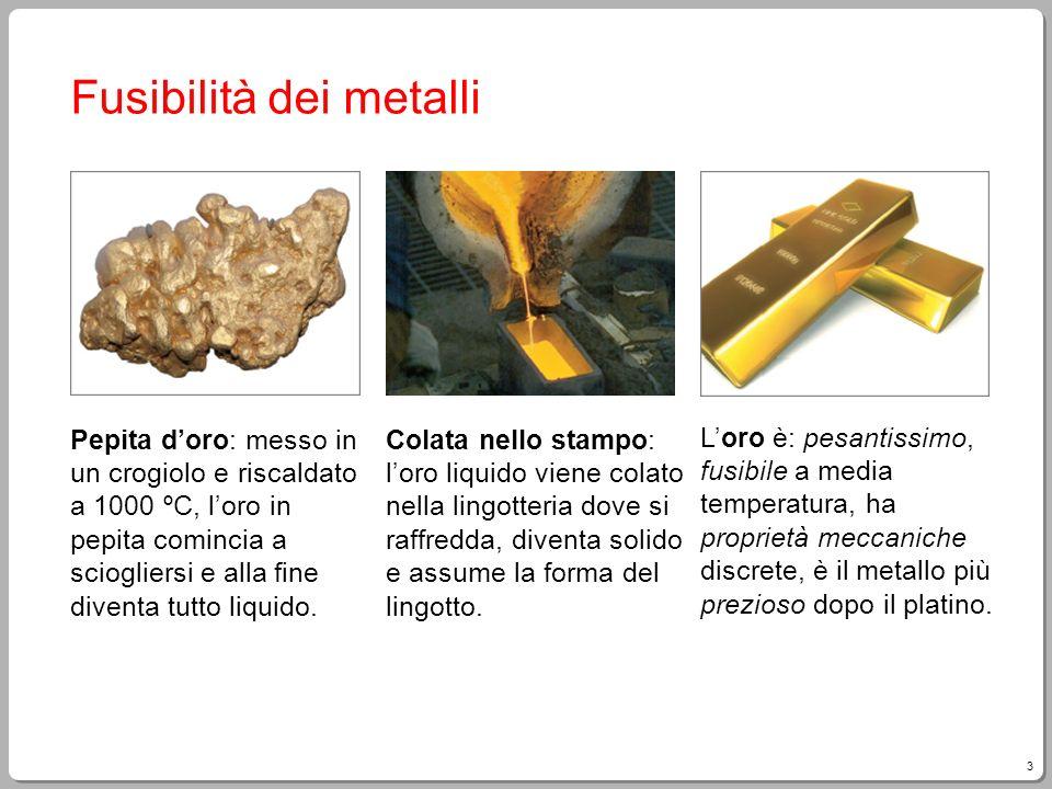 4 Proprietà fisiche dei metalli Aspetto: quasi tutti i metalli hanno un colore bianco-grigiastro (fanno eccezione il rame e loro) e una lucentezza molto elevata, detta lucentezza metallica.