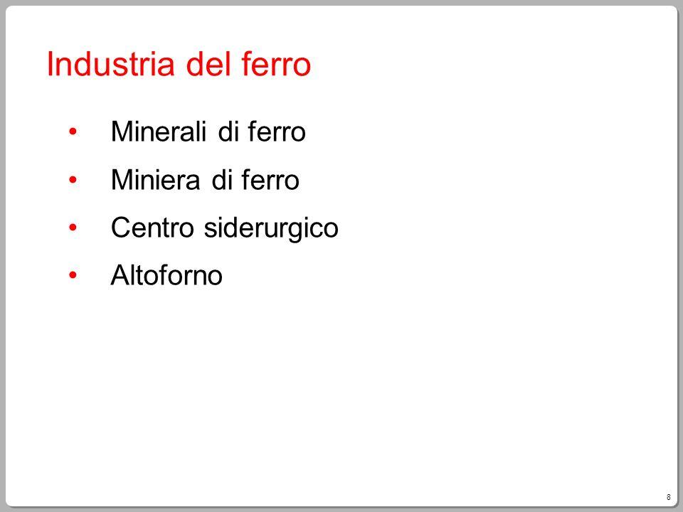 9 Minerali di ferro La materia prima da cui si ricava il ferro sono i suoi minerali, rocce speciali con unalta percentuale di metallo.
