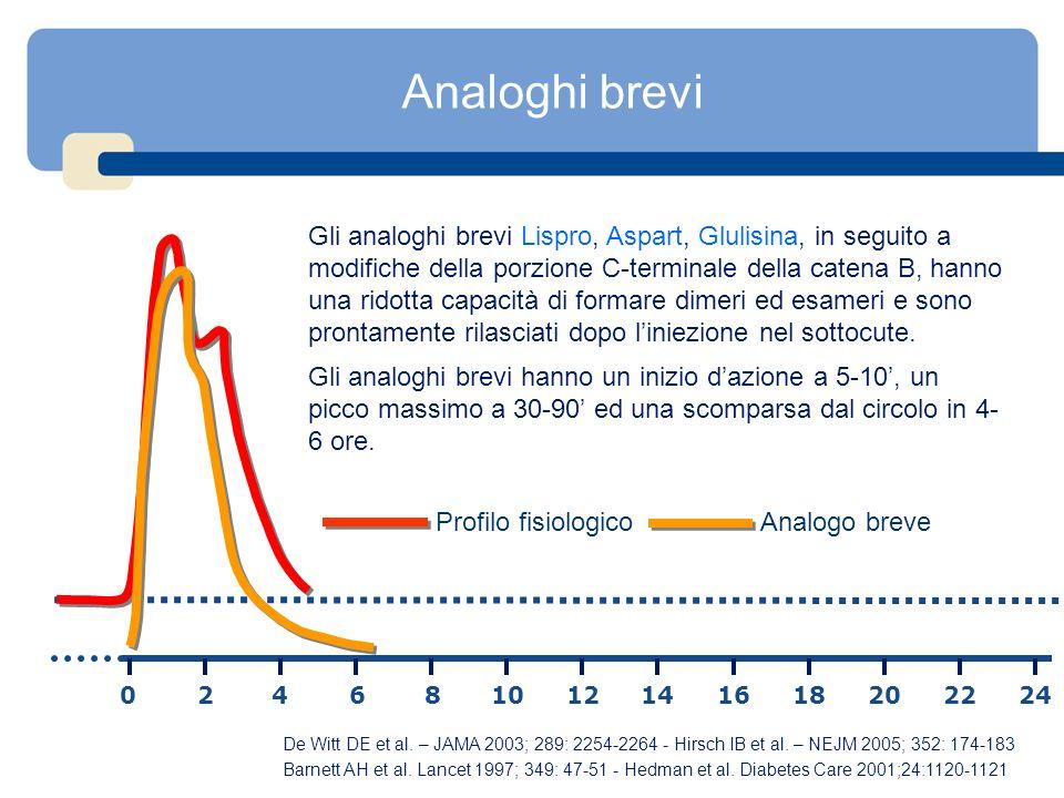 Analoghi brevi Gli analoghi brevi Lispro, Aspart, Glulisina, in seguito a modifiche della porzione C-terminale della catena B, hanno una ridotta capac