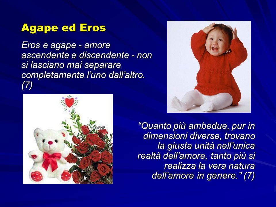 Eros e agape - amore ascendente e discendente - non si lasciano mai separare completamente luno dallaltro. (7) Agape ed Eros Quanto più ambedue, pur i
