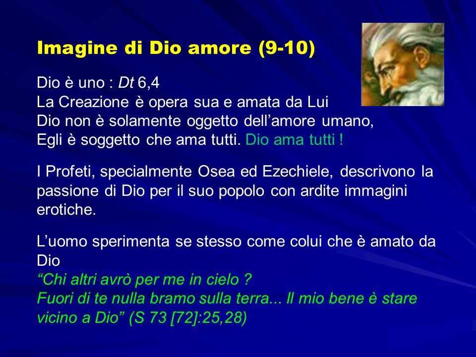Dio è uno : Dt 6,4 La Creazione è opera sua e amata da Lui Dio non è solamente oggetto dellamore umano, Egli è soggetto che ama tutti. Dio ama tutti !