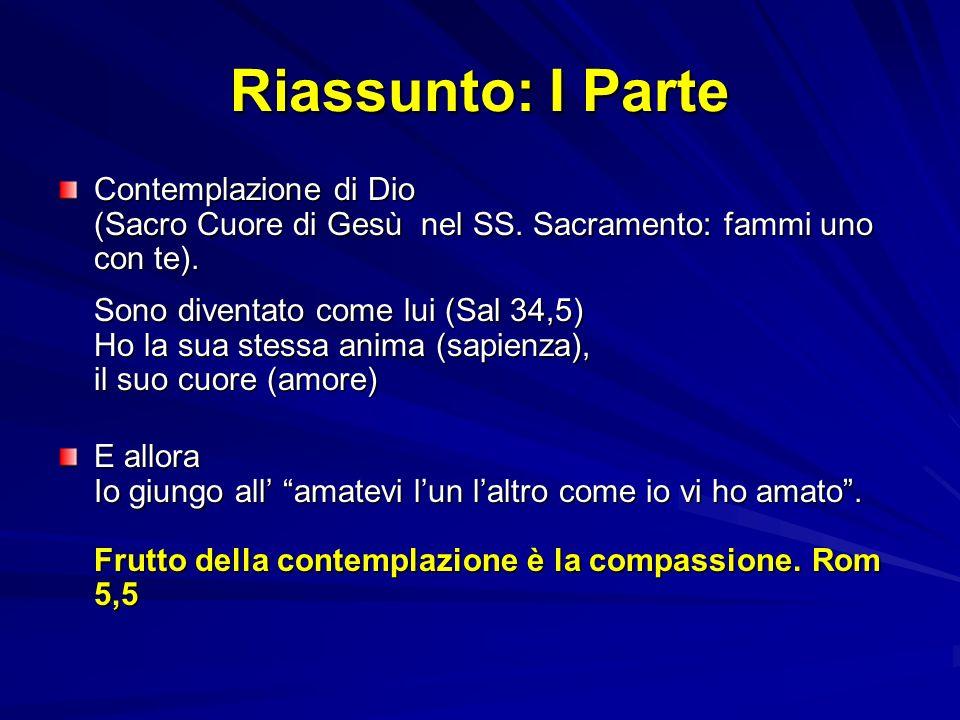 Riassunto: I Parte Contemplazione di Dio (Sacro Cuore di Gesù nel SS. Sacramento: fammi uno con te). Sono diventato come lui (Sal 34,5) Ho la sua stes