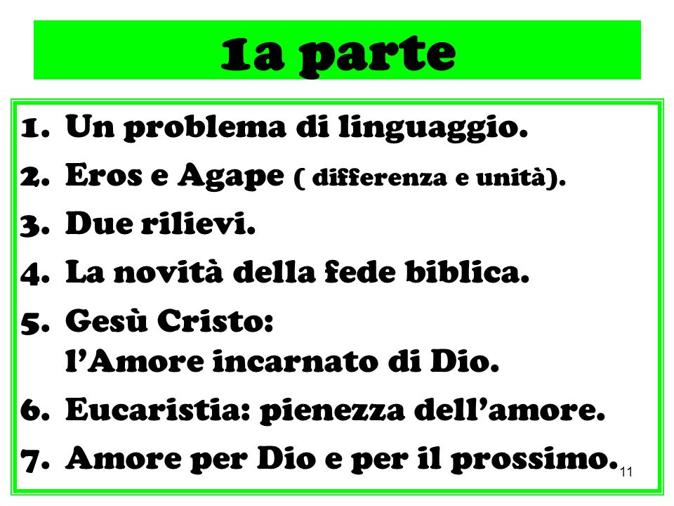 11 1a parte 1.Un problema di linguaggio. 2.Eros e Agape ( differenza e unità). 3.Due rilievi. 4.La novità della fede biblica. 5.Gesù Cristo: lAmore in