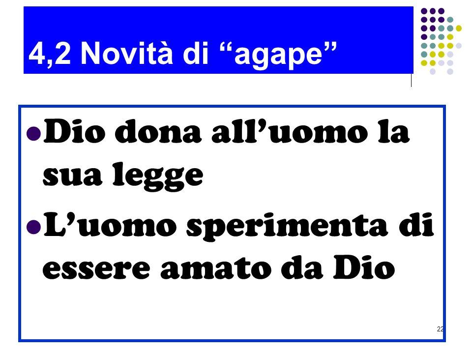 22 4,2 Novità di agape Dio dona alluomo la sua legge Luomo sperimenta di essere amato da Dio