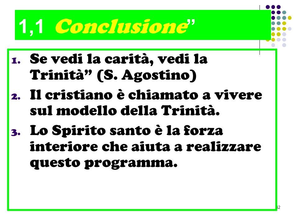 42 1,1 Conclusione 1. Se vedi la carità, vedi la Trinità (S. Agostino) 2. Il cristiano è chiamato a vivere sul modello della Trinità. 3. Lo Spirito sa
