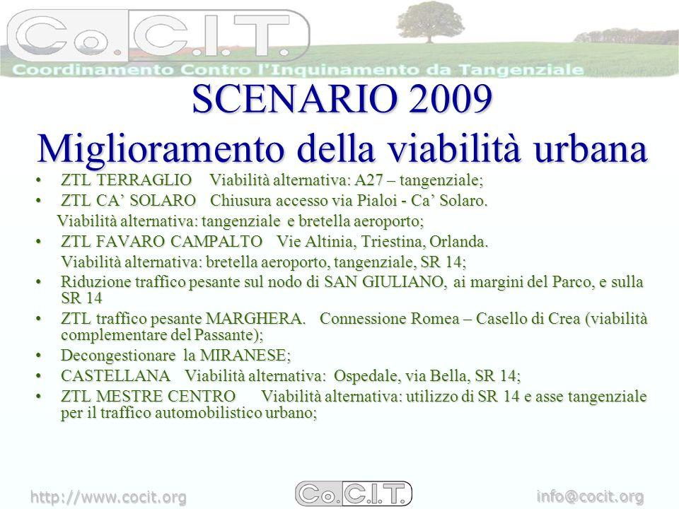 http://www.cocit.org info@cocit.org SCENARIO 2009 Miglioramento della viabilità urbana ZTL TERRAGLIO Viabilità alternativa: A27 – tangenziale;ZTL TERRAGLIO Viabilità alternativa: A27 – tangenziale; ZTL CA SOLARO Chiusura accesso via Pialoi - Ca Solaro.ZTL CA SOLARO Chiusura accesso via Pialoi - Ca Solaro.