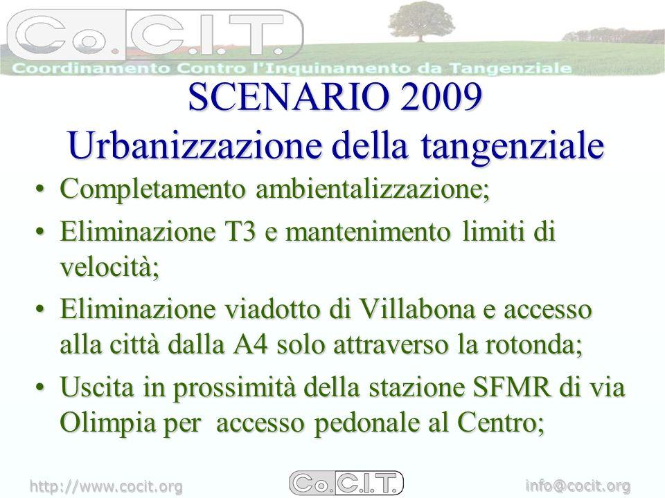 http://www.cocit.org info@cocit.org SCENARIO 2009 PAT e recupero urbanistico ambientale Azione 1: TANGENZIALE VERDE fascia dei 30 – 60 metri di profondità dal margine dellinfrastruttura, dove già libera, da destinare a corridoio verde da arborizzare;