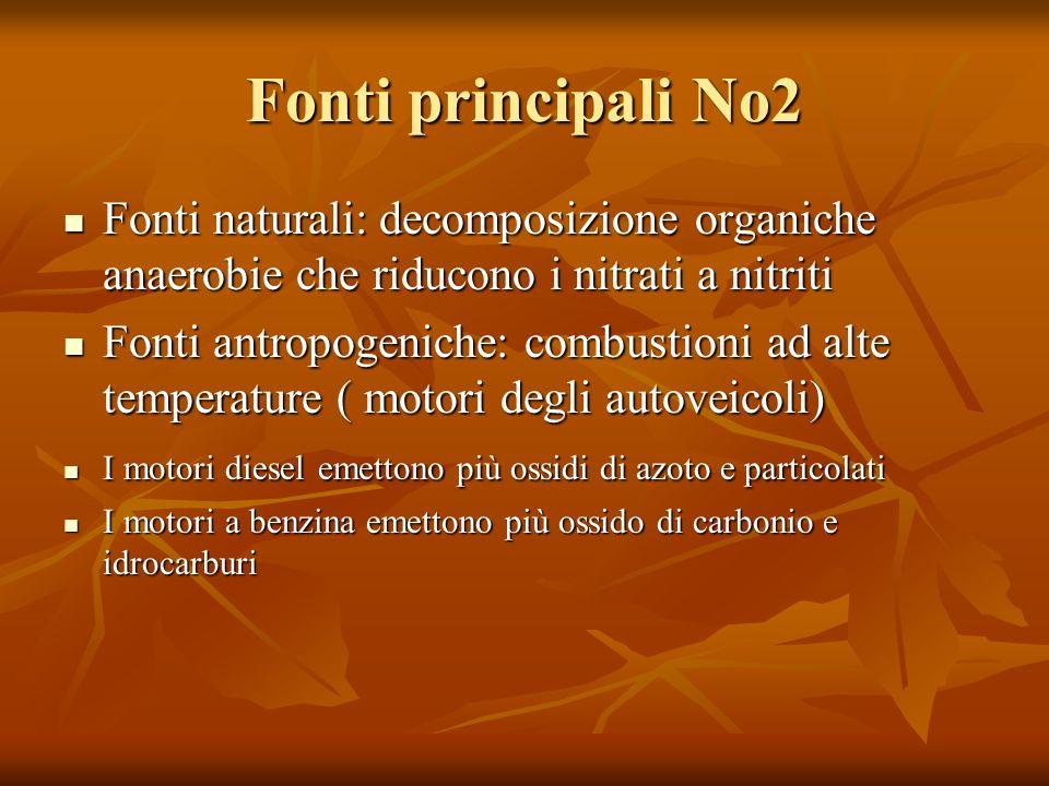 Fonti principali No2 Fonti naturali: decomposizione organiche anaerobie che riducono i nitrati a nitriti Fonti naturali: decomposizione organiche anae