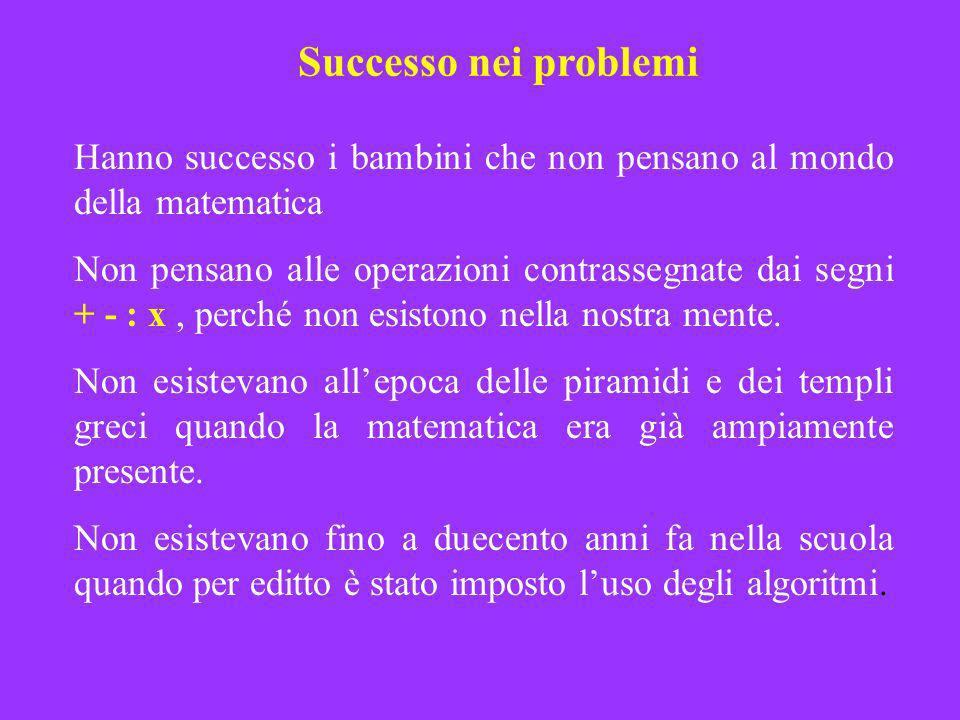 Successo nei problemi Hanno successo i bambini che non pensano al mondo della matematica Non pensano alle operazioni contrassegnate dai segni + - : x,