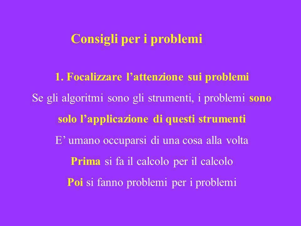 1. Focalizzare lattenzione sui problemi Se gli algoritmi sono gli strumenti, i problemi sono solo lapplicazione di questi strumenti E umano occuparsi