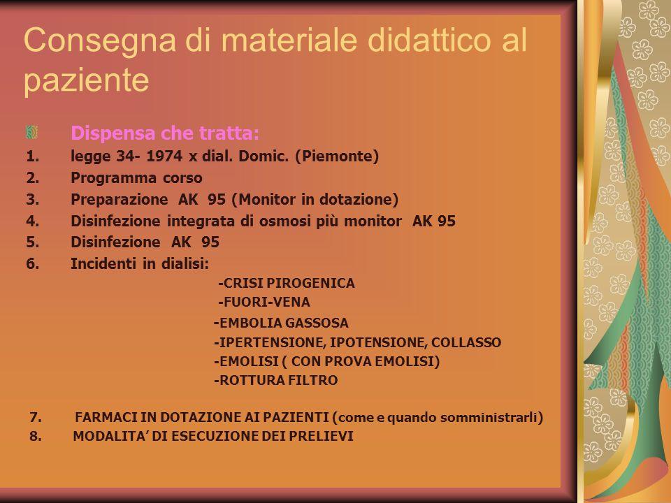 Consegna di materiale didattico al paziente Dispensa che tratta: 1.legge 34- 1974 x dial. Domic. (Piemonte) 2.Programma corso 3.Preparazione AK 95 (Mo