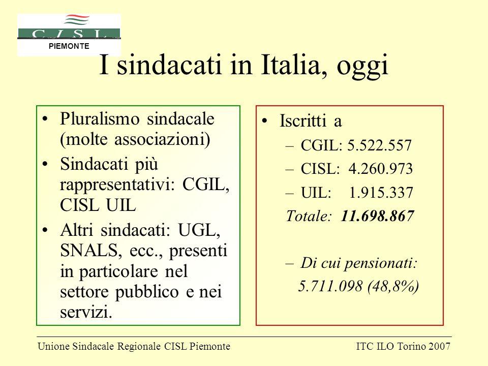 Unione Sindacale Regionale CISL PiemonteITC ILO Torino 2007 PIEMONTE I sindacati in Italia, oggi Pluralismo sindacale (molte associazioni) Sindacati p