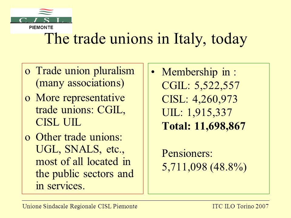 Unione Sindacale Regionale CISL PiemonteITC ILO Torino 2007 PIEMONTE The trade unions in Italy, today oTrade union pluralism (many associations) oMore representative trade unions: CGIL, CISL UIL oOther trade unions: UGL, SNALS, etc., most of all located in the public sectors and in services.