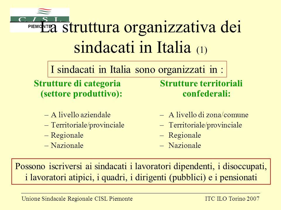 Unione Sindacale Regionale CISL PiemonteITC ILO Torino 2007 PIEMONTE La struttura organizzativa dei sindacati in Italia (1) Strutture di categoria (se