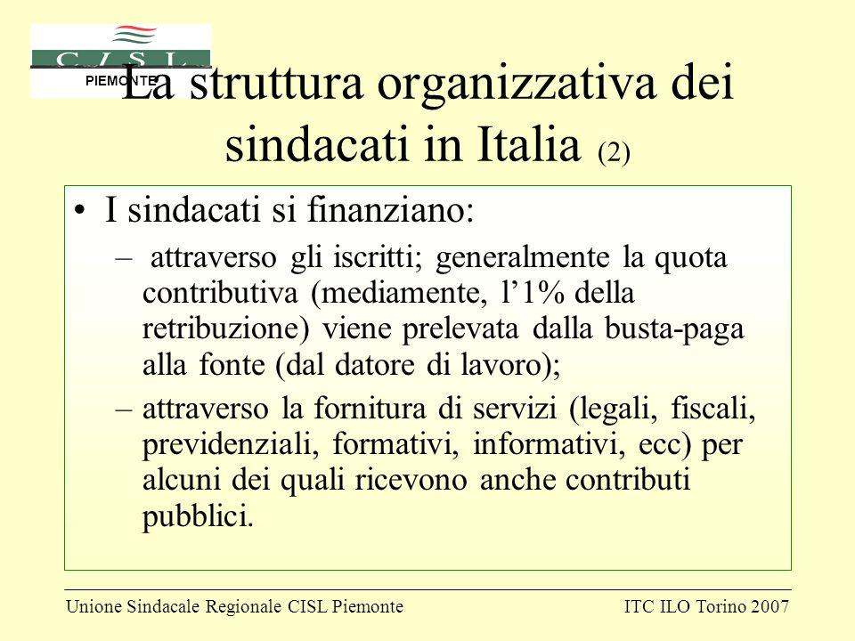 Unione Sindacale Regionale CISL PiemonteITC ILO Torino 2007 PIEMONTE La struttura organizzativa dei sindacati in Italia (2) I sindacati si finanziano: