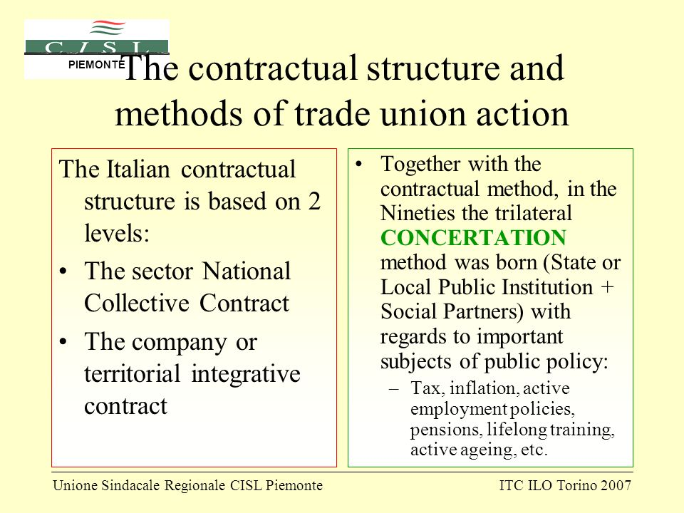 Unione Sindacale Regionale CISL PiemonteITC ILO Torino 2007 PIEMONTE The contractual structure and methods of trade union action The Italian contractual structure is based on 2 levels: The sector National Collective Contract The company or territorial integrative contract Together with the contractual method, in the Nineties the trilateral CONCERTATION method was born (State or Local Public Institution + Social Partners) with regards to important subjects of public policy: –Tax, inflation, active employment policies, pensions, lifelong training, active ageing, etc.