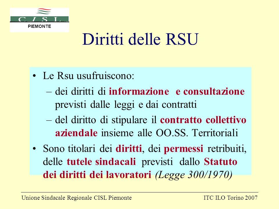 Unione Sindacale Regionale CISL PiemonteITC ILO Torino 2007 PIEMONTE Diritti delle RSU Le Rsu usufruiscono: –dei diritti di informazione e consultazio