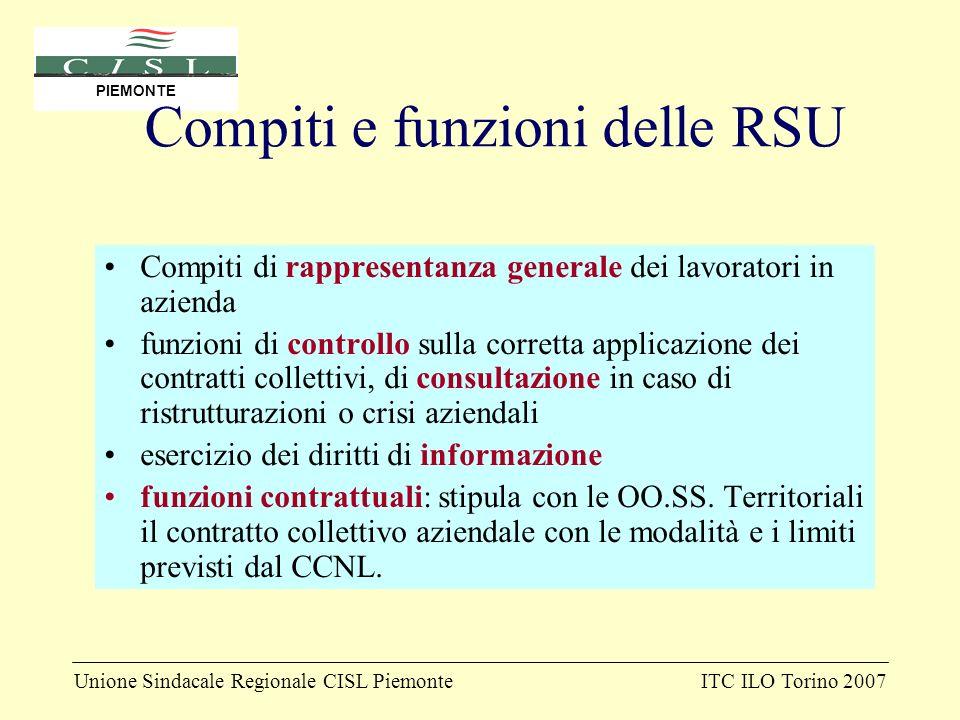 Unione Sindacale Regionale CISL PiemonteITC ILO Torino 2007 PIEMONTE Compiti e funzioni delle RSU Compiti di rappresentanza generale dei lavoratori in
