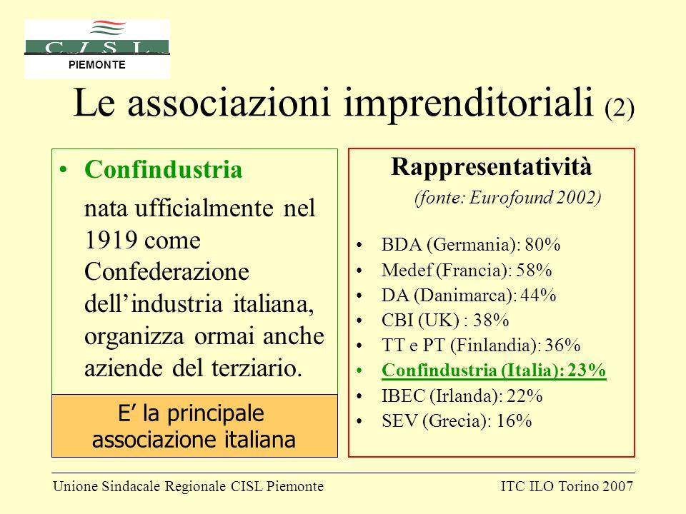 Unione Sindacale Regionale CISL PiemonteITC ILO Torino 2007 PIEMONTE Le associazioni imprenditoriali (2) Confindustria nata ufficialmente nel 1919 com
