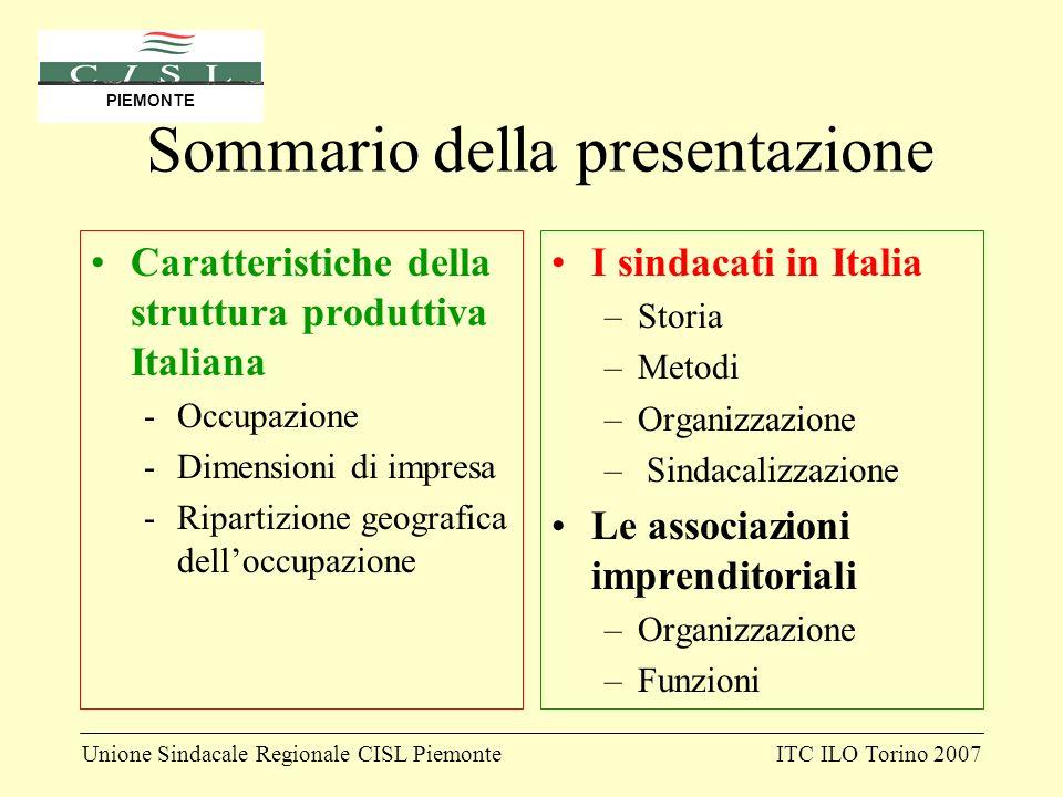 Unione Sindacale Regionale CISL PiemonteITC ILO Torino 2007 PIEMONTE Sommario della presentazione Caratteristiche della struttura produttiva Italiana
