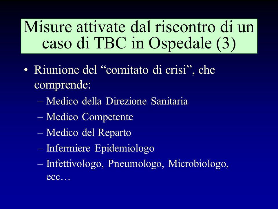 Misure attivate dal riscontro di un caso di TBC in Ospedale (2) Sopralluogo in Reparto: –Ricostruzione di tutti gli spostamenti subiti dal paziente ne