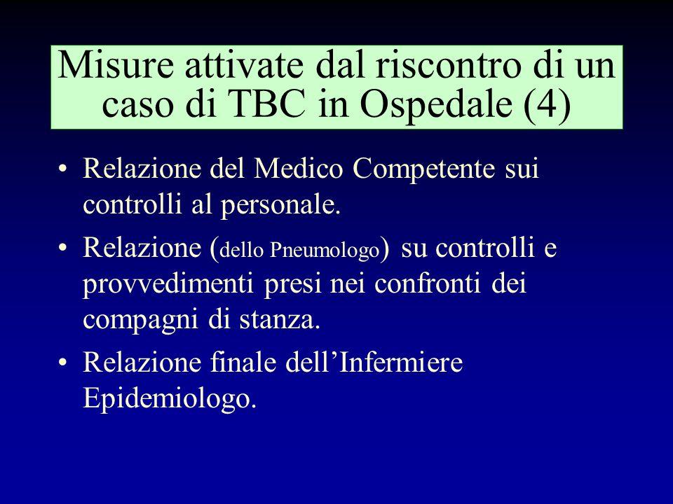 Misure attivate dal riscontro di un caso di TBC in Ospedale (3) Riunione del comitato di crisi, che comprende: –Medico della Direzione Sanitaria –Medi