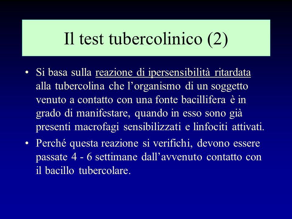 Il test tubercolinico (1) Consiste in: 1.iniettare intradermo 5 UI di tubercolina (PPD, ottenuta per precipitazione selettiva delle proteine tubercola
