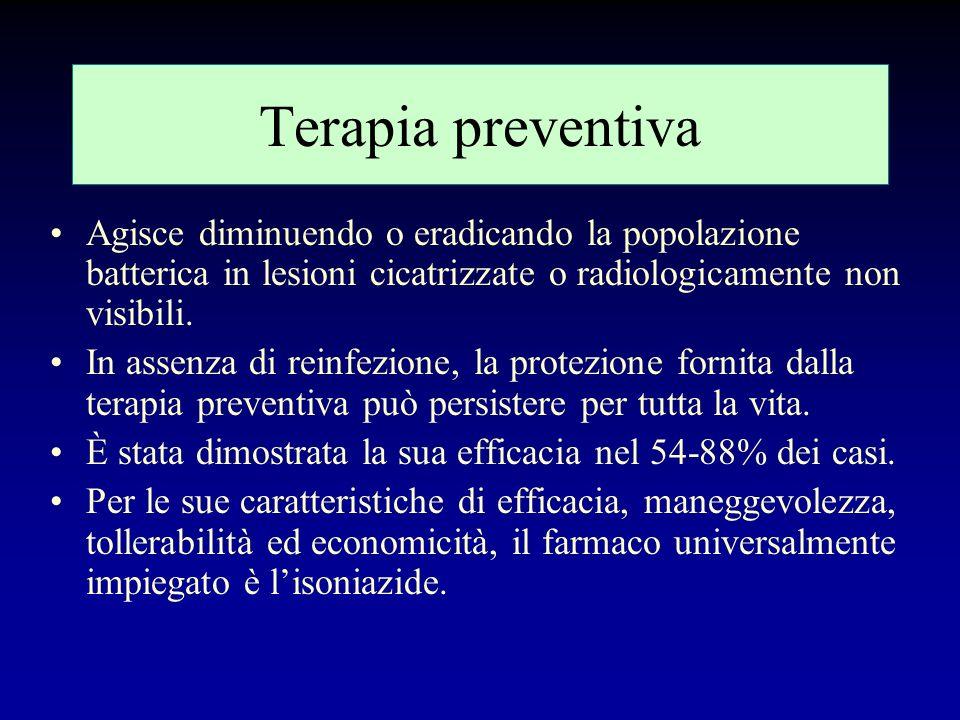 La terapia preventiva si propone di: Prevenire linfezione tubercolare (nei soggetti tubercolino negativi) Prevenire la progressione da infezione a mal