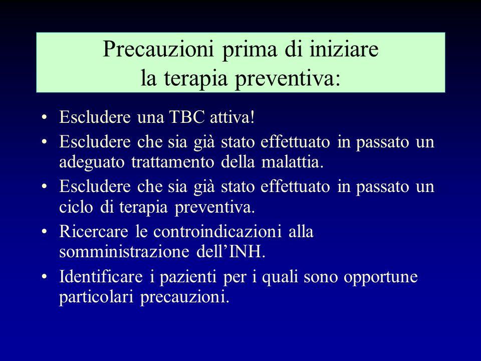 Fattori da considerare nella decisione di intraprendere una terapia preventiva Risposta alla Mantoux. Rischio relativo di malattia. Condizioni socio-a